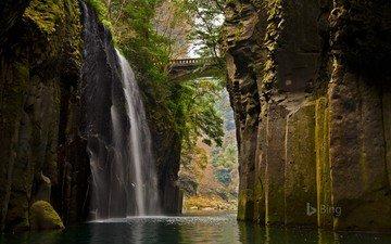 река, скалы, природа, мост, водопад, япония, bing, ущелье такатихо, кюсю, остров кюсю