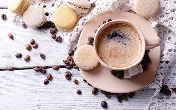 напиток, кофе, кофейные зерна, печенье, выпечка, десерт, макаруны