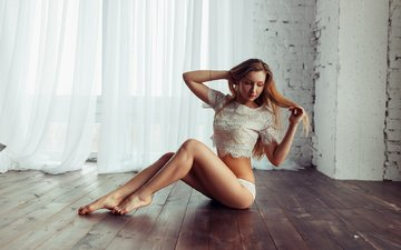 девушка, поза, модель, ножки, позирует, в белье, на полу