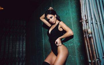 девушка, модель, чулки, купальник, позирует, в белье, irena malinskaya