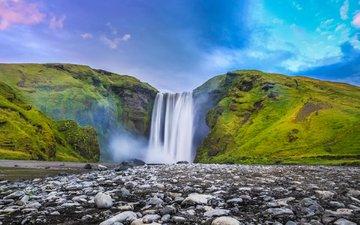 river, nature, waterfall