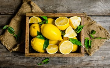 leaves, board, lemons, citrus, box, burlap