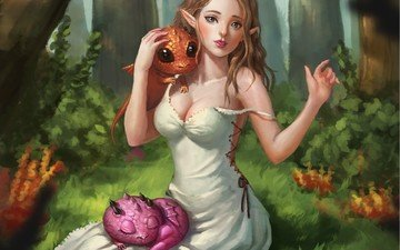 арт, деревья, лес, девушка, платье, взгляд, фэнтези, ушки, эльфийка, существа