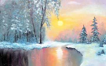 art, lake, sunset, winter, landscape, painting