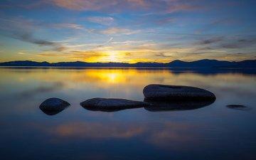 lake, stones, sunset, landscape