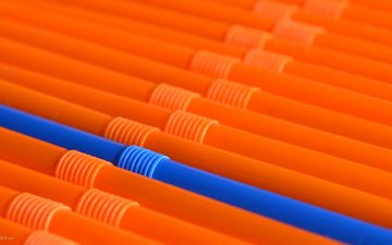 blue, orange, cocktail, tube, straws