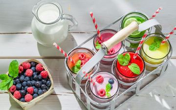 fruit, berries, cocktail, dessert, yogurt, smoothies