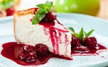 berries, cherry, cake, dessert, pie, cheesecake, jam