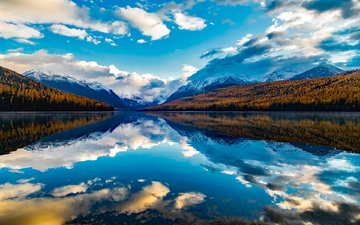 the sky, clouds, lake, mountains, forest, reflection, landscape