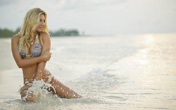 девушка, море, блондинка, пляж, модель