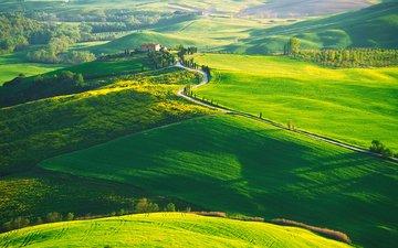 hills, nature, landscape, italy, farm, tuscany