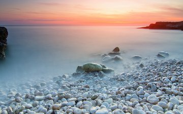 the sky, stones, shore, landscape, sea, horizon