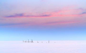 the sky, hills, sunset, landscape, field, horizon, house