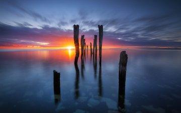 sunset, reflection, landscape, sea, horizon
