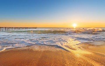 солнце, закат, пейзаж, море, пляж, горизонт