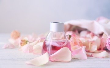 roses, petals, oil, aroma, perfume, bottle