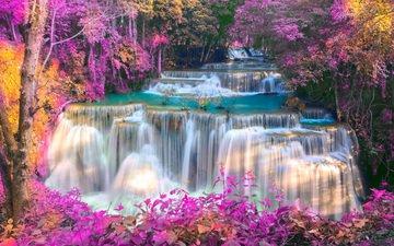 река, природа, лес, пейзаж, водопад, осень, тайланд, theerapol