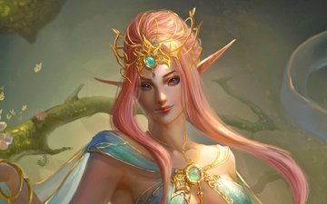 art, girl, fantasy, fairy, magic, elf