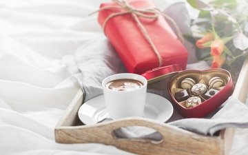 flowers, roses, coffee, candy, gift, chocolate