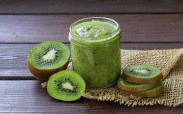 fruit, kiwi, bank, burlap, smoothies, puree