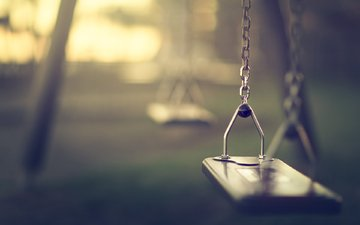 macro, morning, blur, swing, chain, bokeh