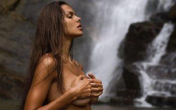 вода, девушка, лето, водопад, модель, тату, грудь, фигура, шатенка