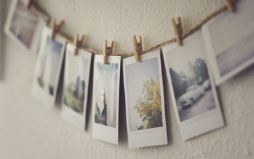 photos, rope, clothespins, pictures, polaroid