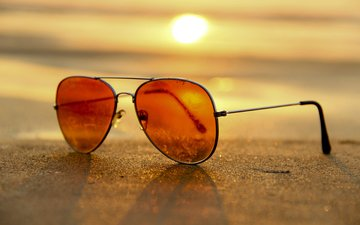 the sun, sand, beach, glasses