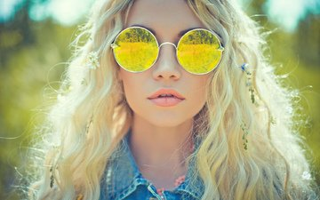 girl, blonde, portrait, glasses, nadezda korobkova