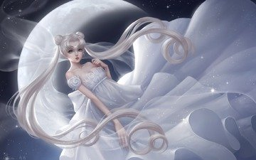girl, the moon, anime, princess, sailor moon