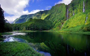 river, mountains, nature, forest, landscape, waterfalls
