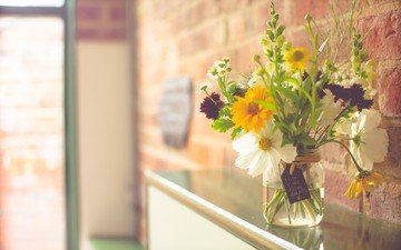 light, flowers, interior, wall, bouquet, bank, blur