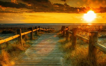 солнце, закат, пейзаж, поле, забор, тропинка
