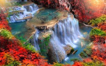 река, природа, водопад, осень