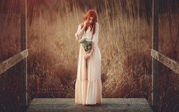 цветы, природа, девушка, платье, букет, рыжеволосая