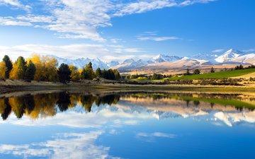 небо, облака, озеро, природа, лес, отражение, осень