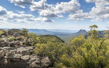 mountains, nature, tree, stones, forest, landscape, hill, australia, valley, plateau, national park