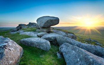солнце, природа, камни, закат, пейзаж, горизонт, англия