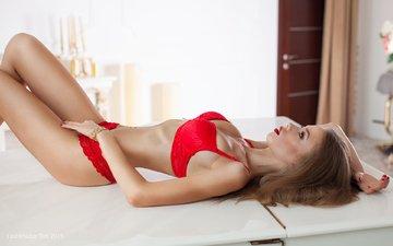 девушка, модель, красное белье, шатенка, длинные волосы, кристина мокроусова