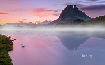the sky, river, mountains, nature, sunset, landscape, fog