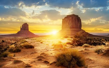 небо, облака, скалы, природа, закат, пейзаж, пустыня, долина монументов