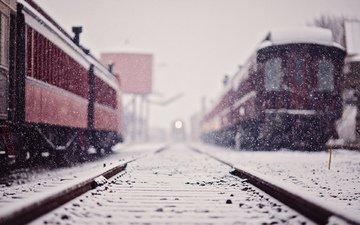 снег, железная дорога, рельсы, зима, поезда, поезд, снегопад
