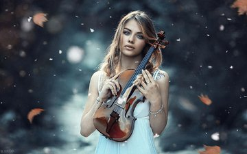 girl, blonde, violin, model, alessandro di cicco, cold symphony
