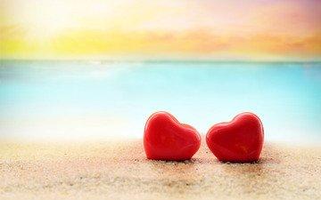 песок, пляж, любовь, сердечки