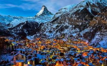 night, lights, the city, switzerland, alps, zermatt