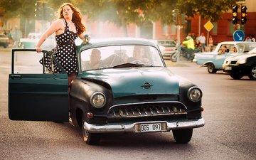 девушка, ретро, взгляд, волосы, автомобиль, опель, opel kapitan