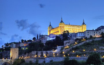 the sky, night, the city, fortress, spain, toledo, alcazar