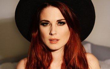 девушка, портрет, взгляд, рыжая, волосы, лицо, шляпа, американская актриса, александра брекенридж