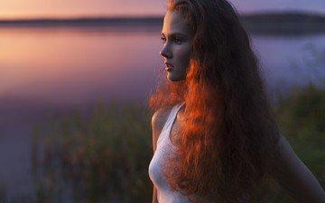 девушка, взгляд, рыжая, волосы, лицо, солнечный свет, anastasiya khotenovskaya