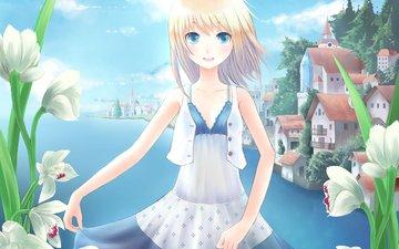 цветы, арт, озеро, девушка, аниме, shouno, минато